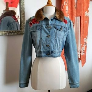 Vintage Fur Collared Cropped Denim Jacket Large